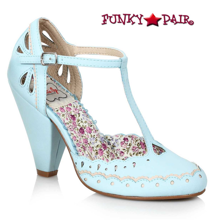 Bettie Page BP403-Birdie T-strap Shoes Chunky Heel Mary jane color blue