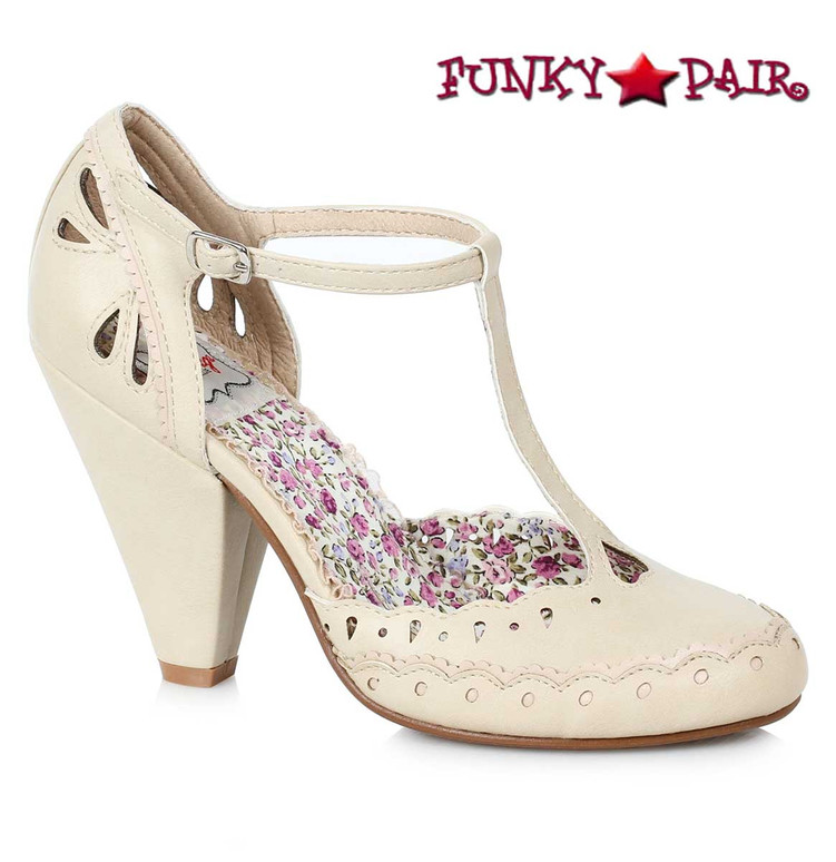 Bettie Page BP403-Birdie T-strap Shoes Chunky Heel Mary jane color nude
