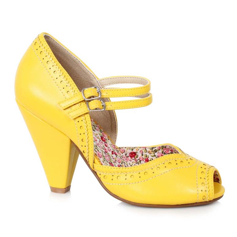 Bettie Page   BP403-Nellie, Chunky Heel Maryjane Platform Sandal color yellow