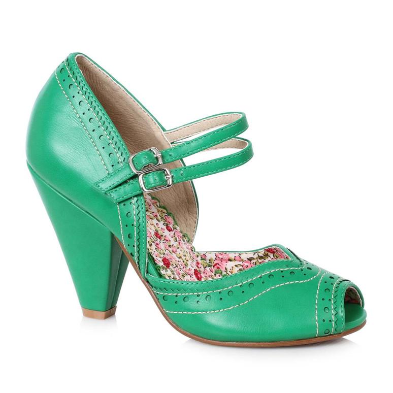 Bettie Page   BP403-Nellie, Chunky Heel Maryjane Platform Sandal color green
