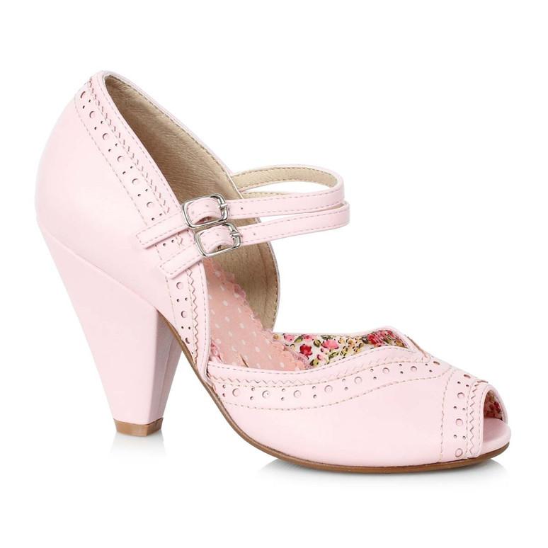 Bettie Page   BP403-Nellie, Chunky Heel Maryjane Platform Sandal color pink