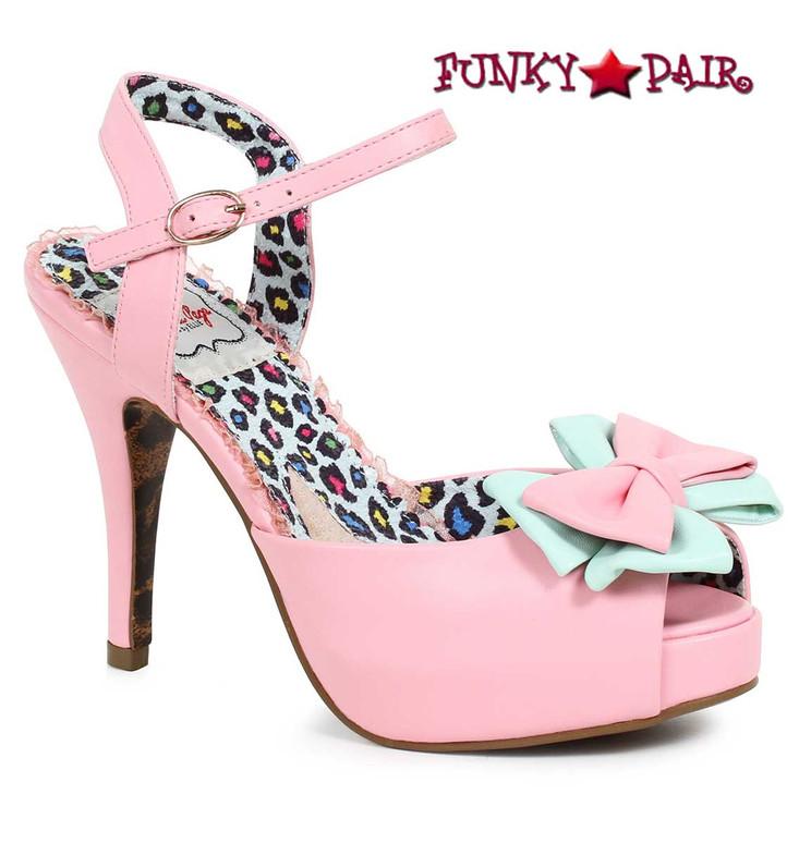 Bettie Page | BP412-Vixen, Peep Toe Bow Sandal color pink