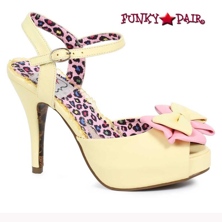 Bettie Page | BP412-Vixen, Peep Toe Bow Sandal color yellow