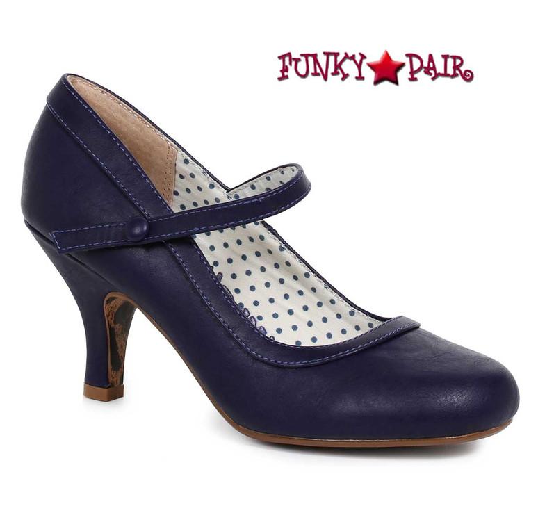 Bettie Page  BP320-Bettie Retro Mary jane Pump color Navy Blue