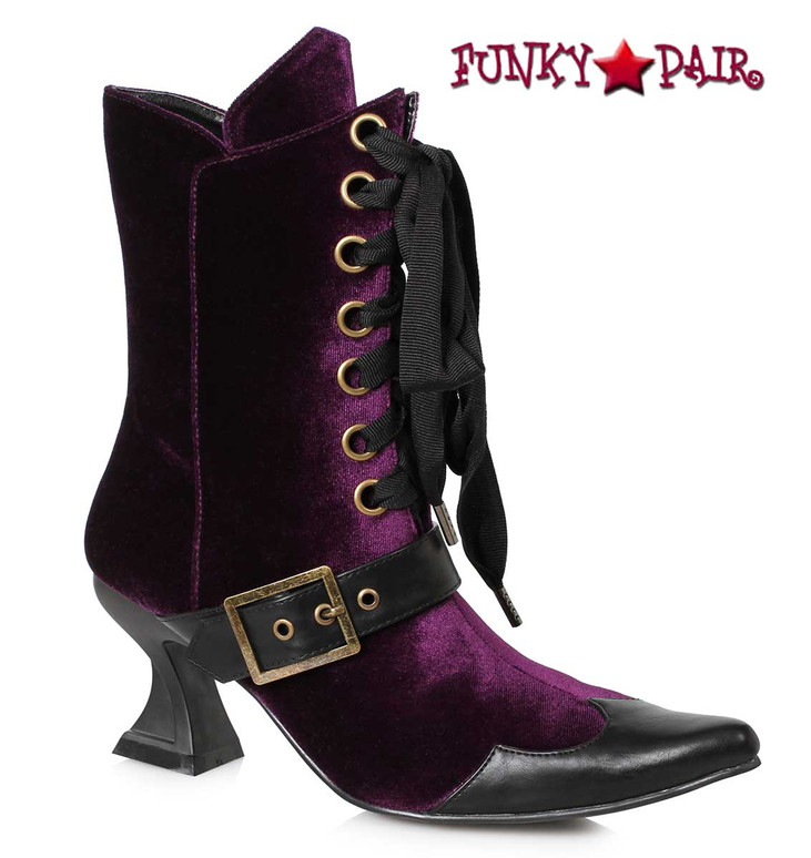 Purple Velvet Witch Booties Ellie Shoes | 301-Tabby