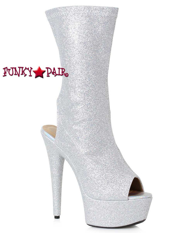Ellie Boots 609-Harper Peep Toe Ankle Booties color Silver