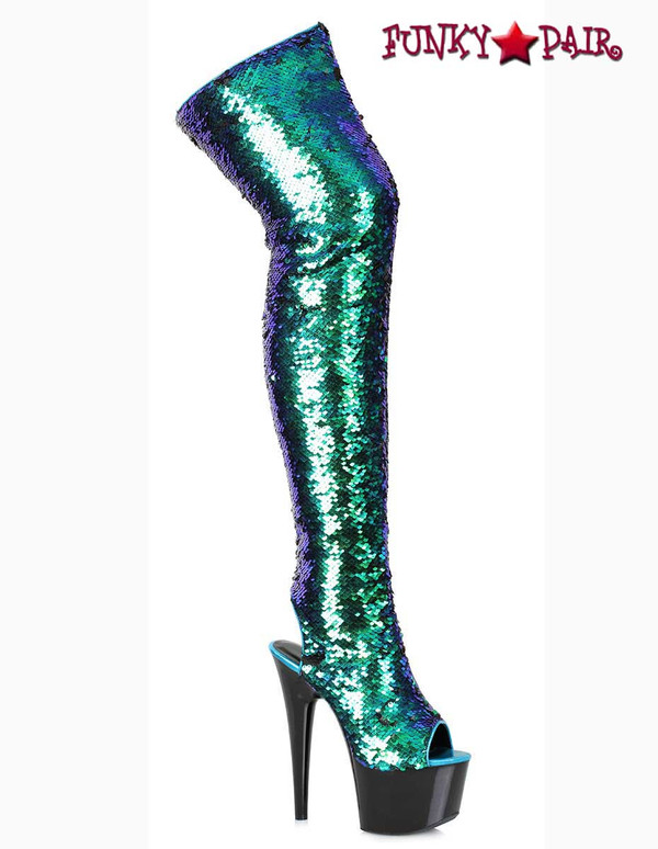 Ellie Shoes 709-Ruby Green Sequin Thigh High Boots | Funkypair