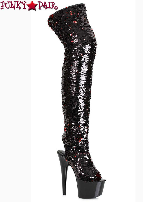 Ellie Shoes 709-Ruby Black Sequin Thigh High Boots | Funkypair