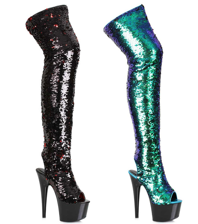 Sequin Thigh High Boots | Ellie Shoes 709-Ruby