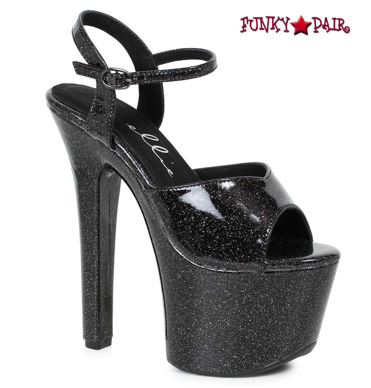 Ellie Shoes | 711-Babble, Black Mini-Glitters Platform Ankle Strap Sandal