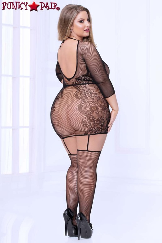 Seamless Lace Bodystocking Dress STM-20467X Plus Size back view