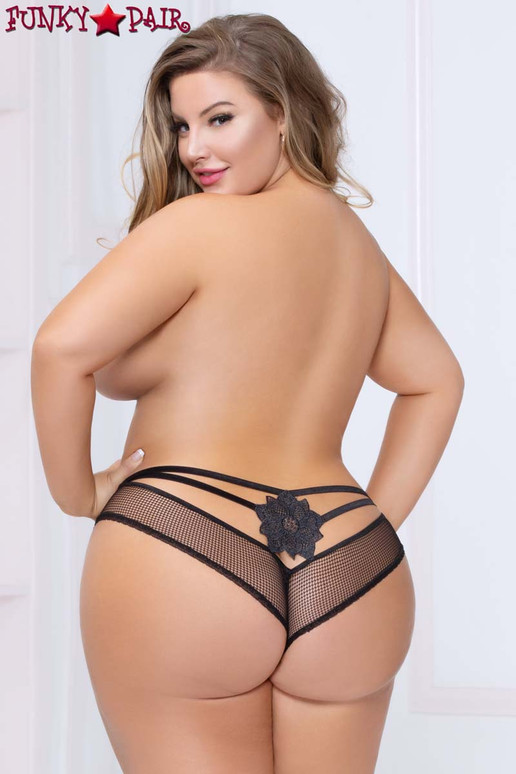 Plus Size Netting Cheeky Panty STM-10984X color black back view