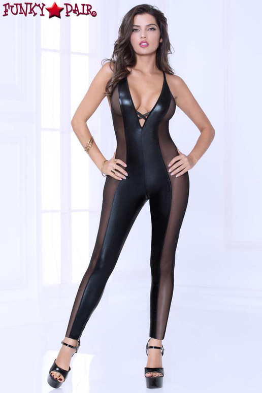 STM-10964, Lamé and Mesh Bodysuit front view