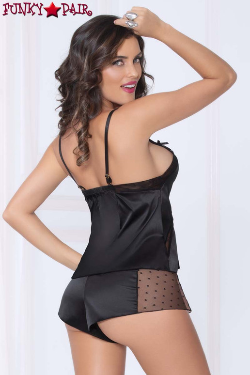 STM-11003, Satin Cami Set color black back vie
