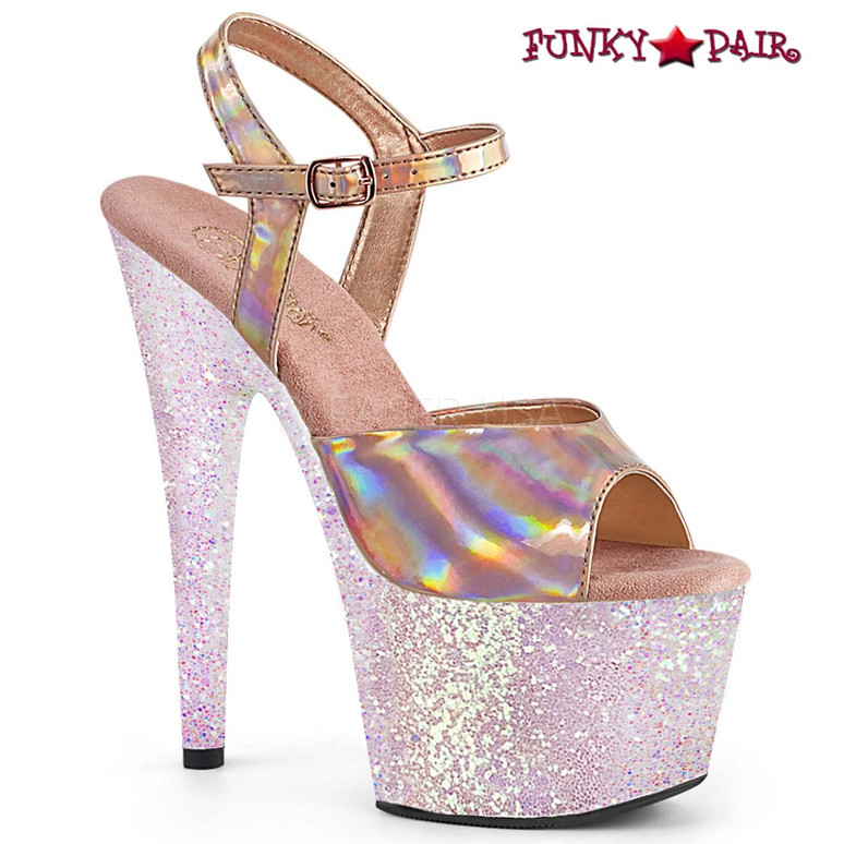 Stripper Shoes Adore-709HGG, Ankle Strap Sandal with Holographic Glitter color rose gold