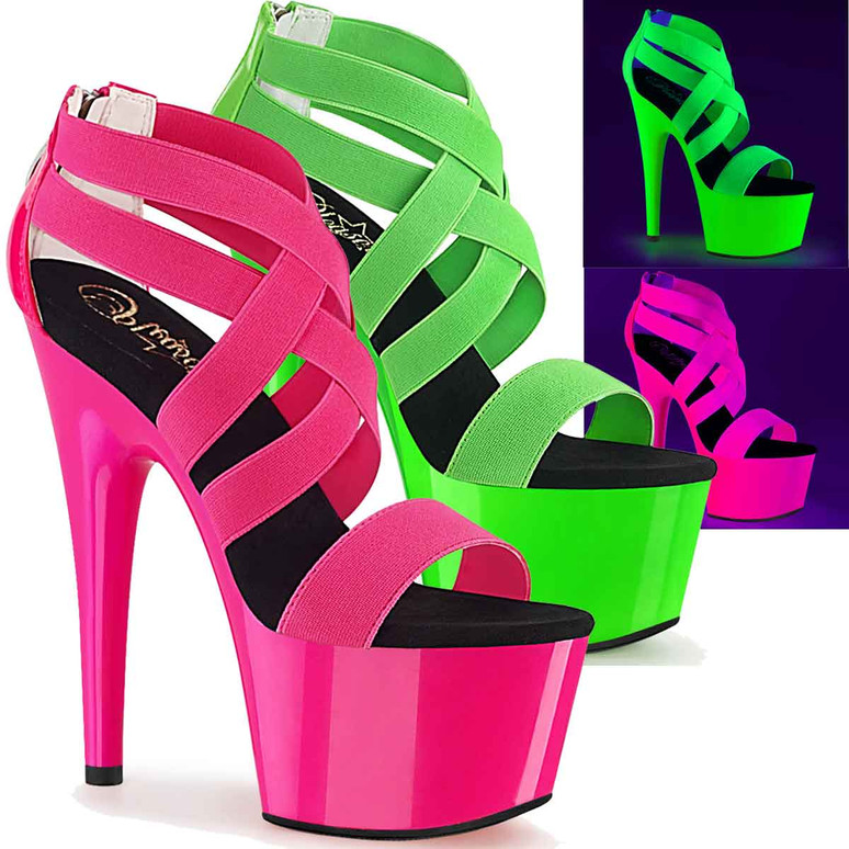 Adore-769UV, Criss Cross Strappy Sandal with Black Light Reactive