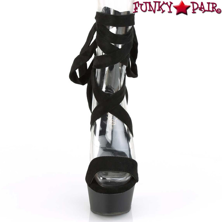 Pleaser | Delight-671, Front View Criss Cross Ankle Wrap Sandal