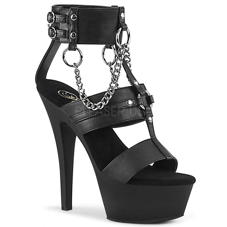 Stripper Shoes Kiss-261, T-Strap Platform Sandal with Metal Rings