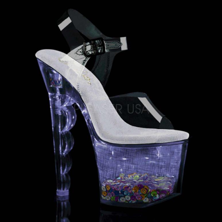 Pleaser | Flashdance-708SCHSQ, Lite-up with Multi-Color Sequin in Platform color purple