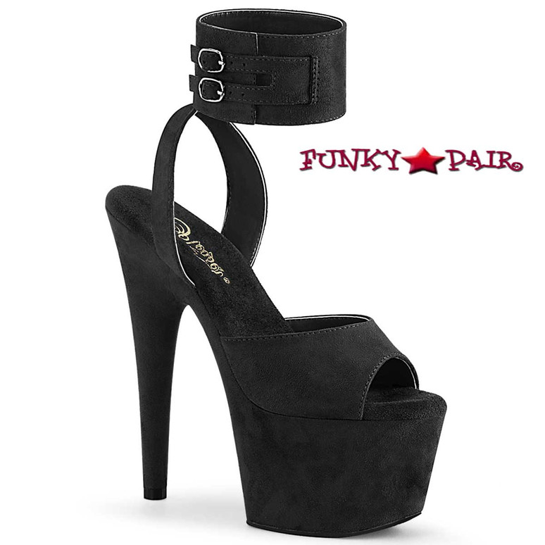 Pleaser Adore-791FS Black Suede Ankle Cuff Sandal