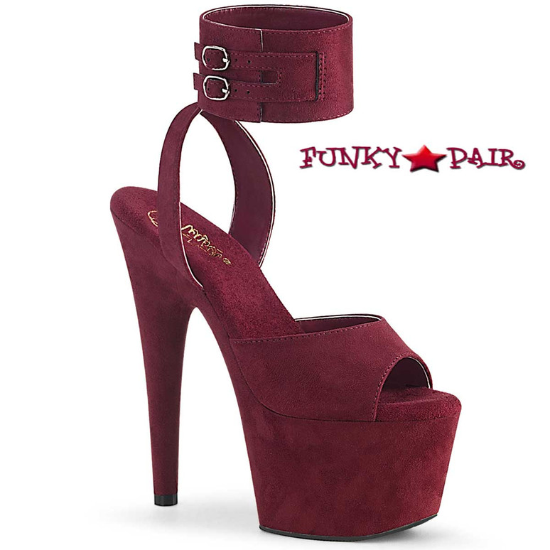 Pleaser Shoes Adore-791FS, Burgundy Suede Ankle Cuff Sandal