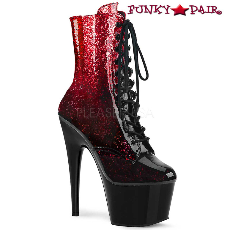 Adore-1020OMB, Ankle Boots with Ombre Effect Pleaser Boots color Red