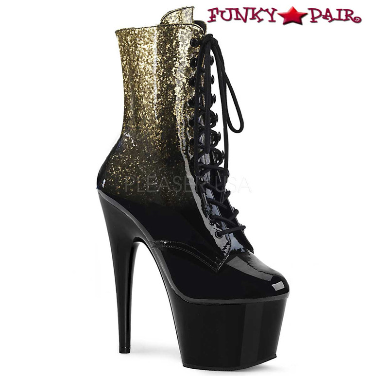 Adore-1020OMB, Ankle Boots with Ombre Effect Pleaser Boots color Gold
