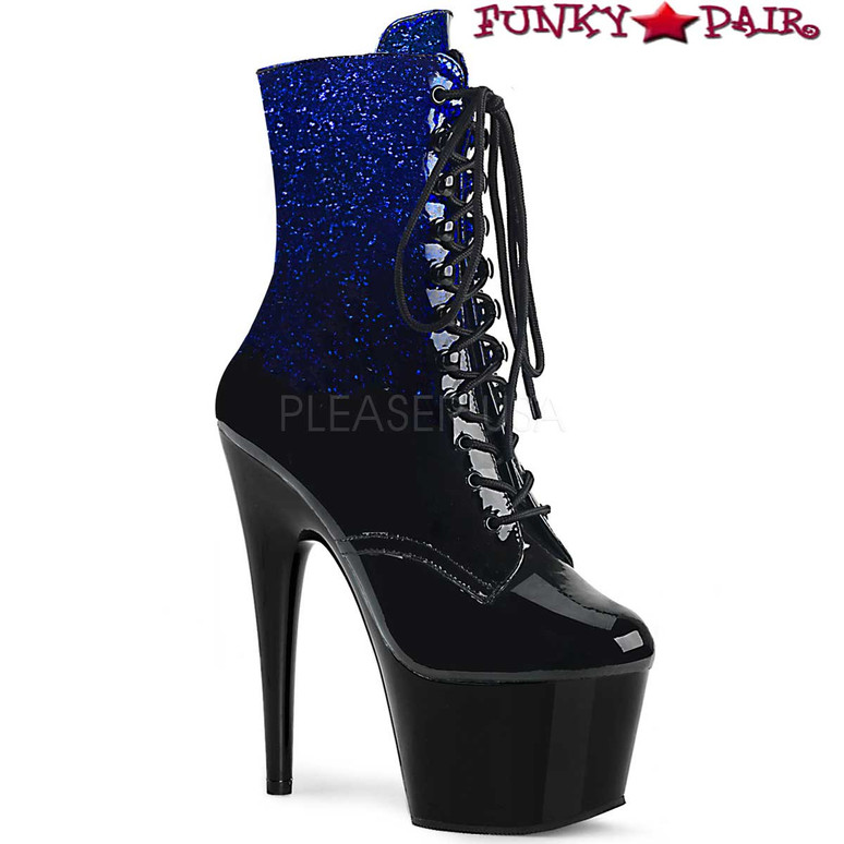 Stripper Boots Adore-1020OMB, Ankle Boots with Ombre Effect color Blue