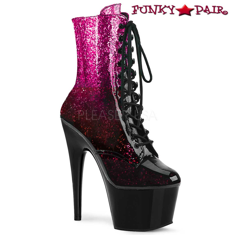 Stripper Boots Adore-1020OMB, Ankle Boots with Ombre Effect color Fuchsia