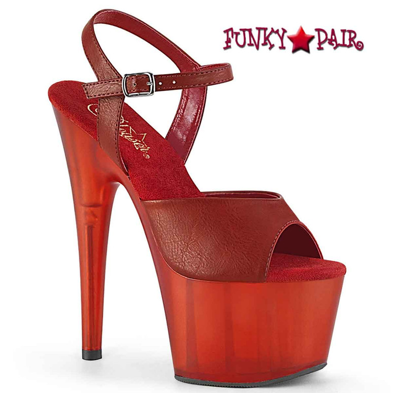 Adore-709T, Ankle Strap Sandal with Frosted Bottom color Red Faux Leather
