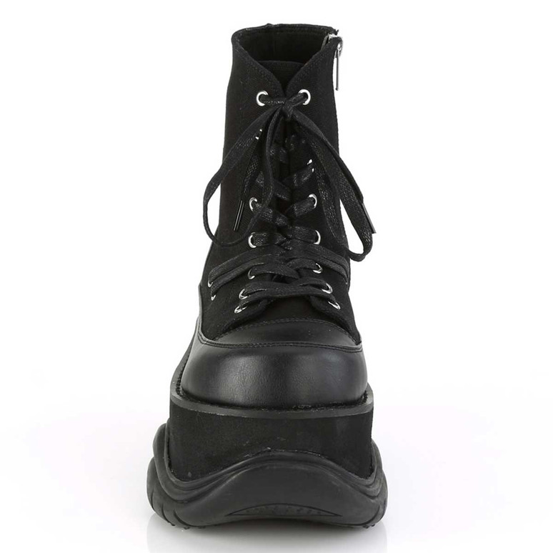 Demonia | Neptune-115, Front Side ViewPlatform Lace-up Ankle Boots