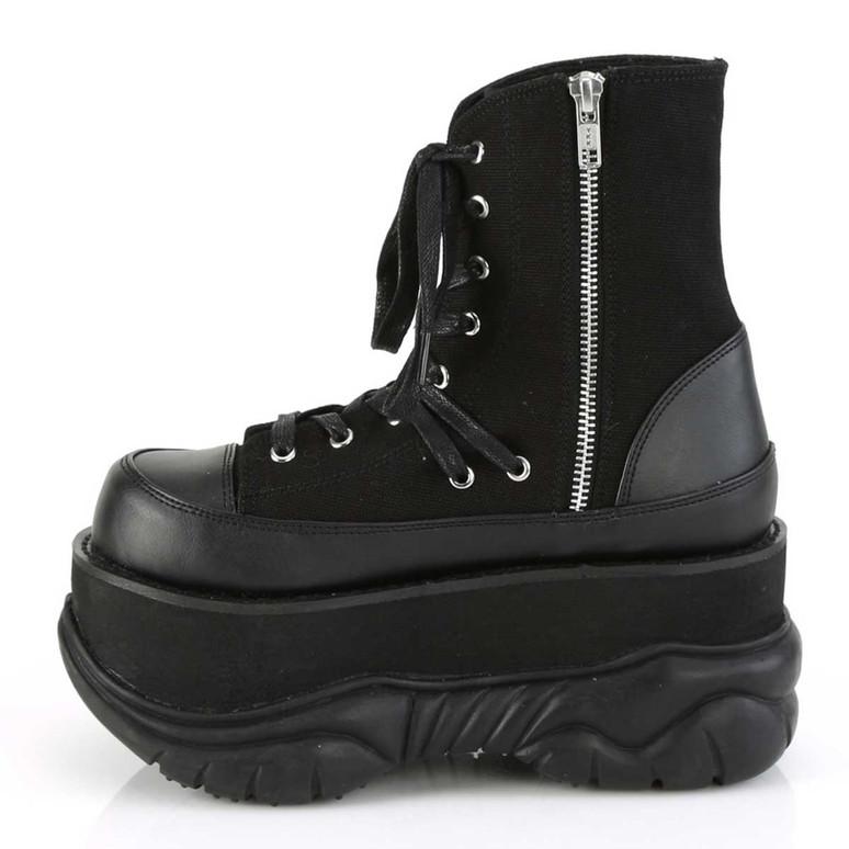 Demonia | Neptune-115, Zipper Side ViewPlatform Lace-up Ankle Boots