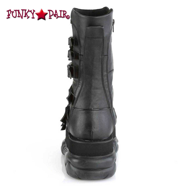 Neptune-210, Back View Midcalf Boots with Multi Straps Demonia