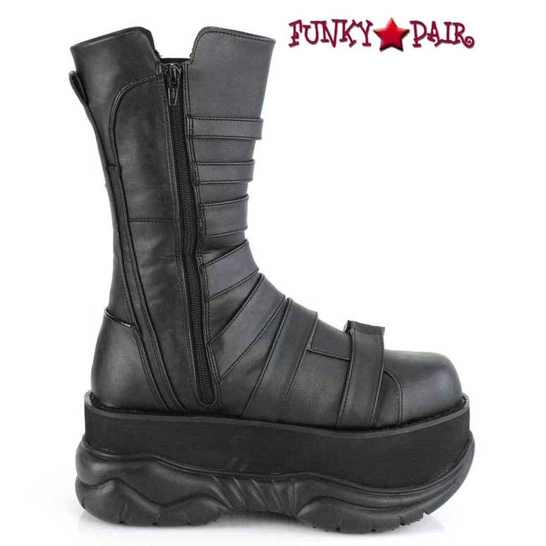 Neptune-210, Midcalf Boots with Multi Straps by Demonia Zipper Side View