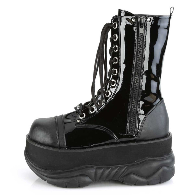 Demonia | Neptune-200, Platform Lace-up Men's Boots Zipper Side View