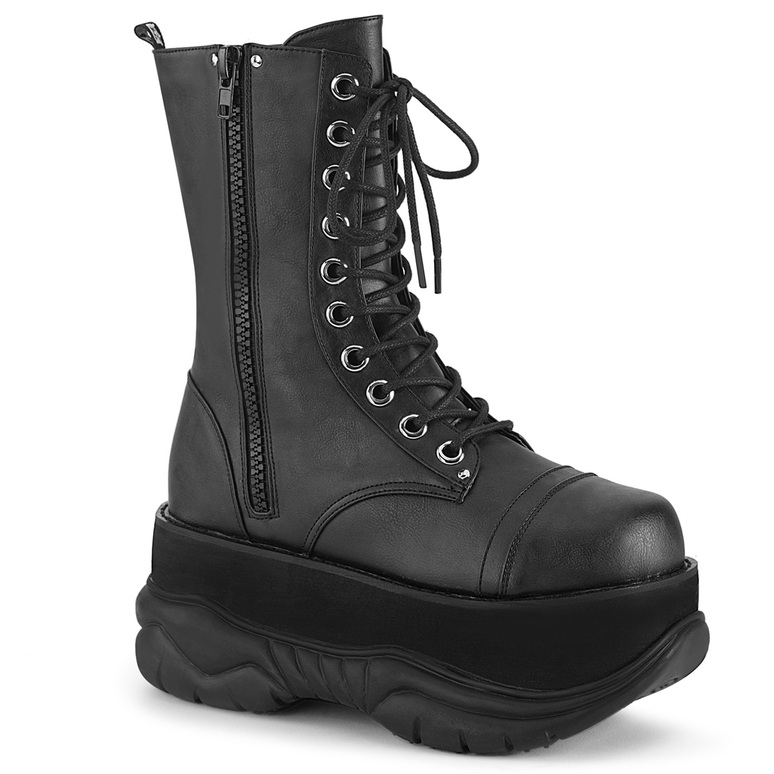 Neptune-200, Black Vegan Leather Platform Lace-up Demonia Men's Boots