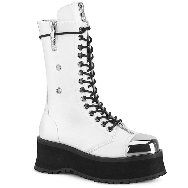 Gravedigger-14, Men's Mid-Calf Boots with Metal Toe Plate color white Vegan Leather