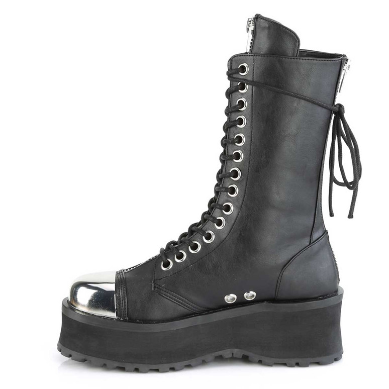 Demonia | Gravedigger-14, Side View Men's Mid-Calf Boots with Metal Toe Plate