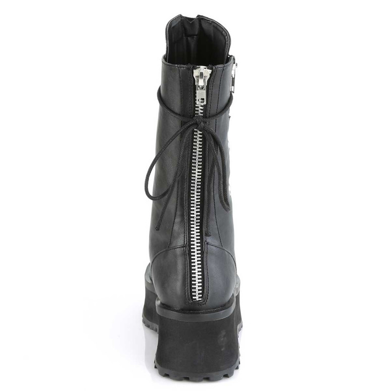 Gravedigger-14, Men's Mid-Calf Boots with Metal Toe Plate by Demonia Back Zipper View
