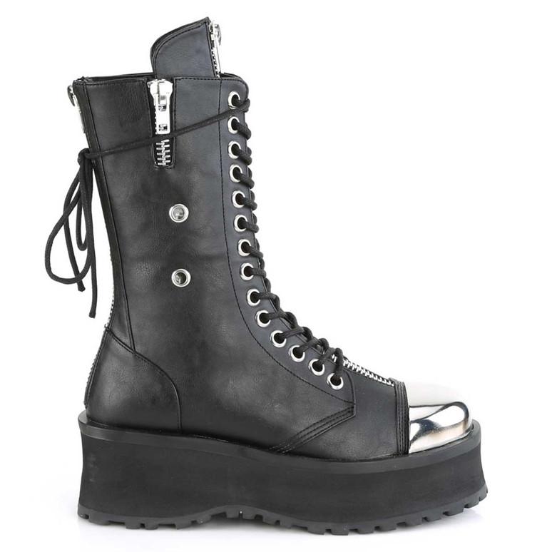 Demonia | Gravedigger-14, Men's Punk Mid-Calf Boots with Metal Toe Plate