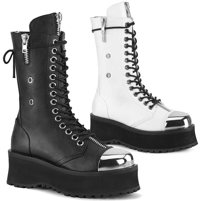 Demonia | Gravedigger-14, Men's Mid-Calf Boots with Metal Toe Plate