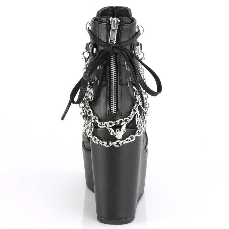 Demonia | Poison-95, Women gothic Wedge Cage Bootie Back View
