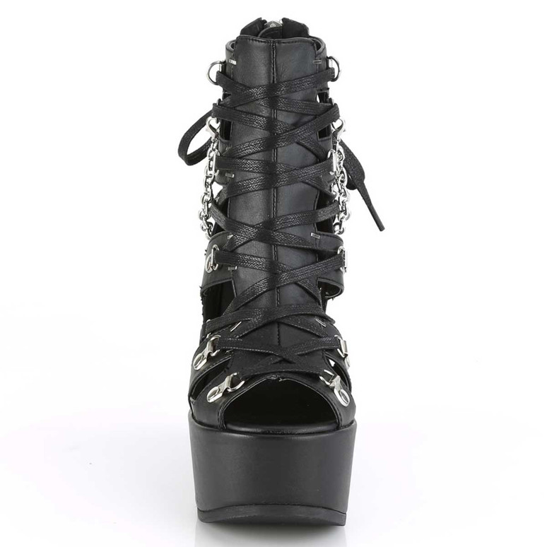 Demonia | Poison-95, Women gothic Wedge Cage Bootie Front View
