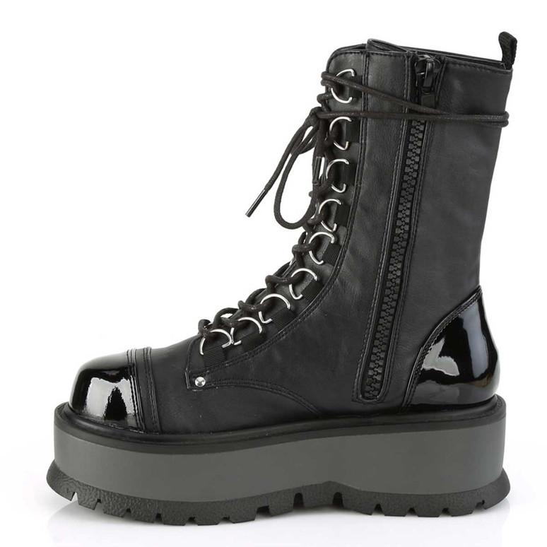 Slacker-150,  Goth Lace-up Platform Ankle Demonia Boots Zipper Side View