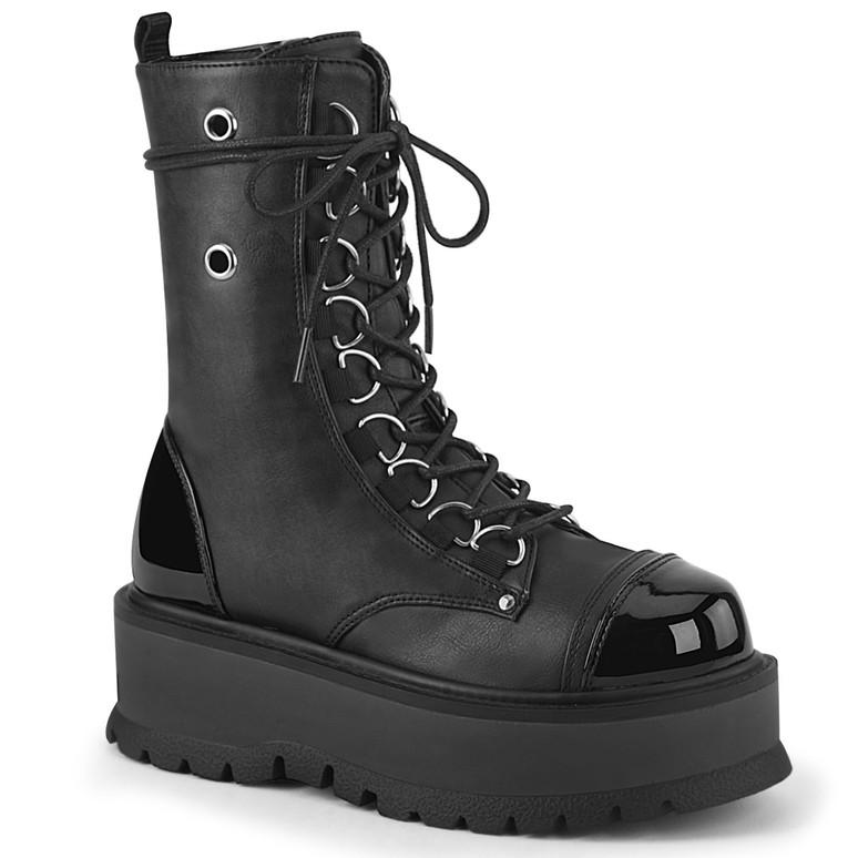 Slacker-150,  Goth Lace-up Platform Ankle Demonia Boots