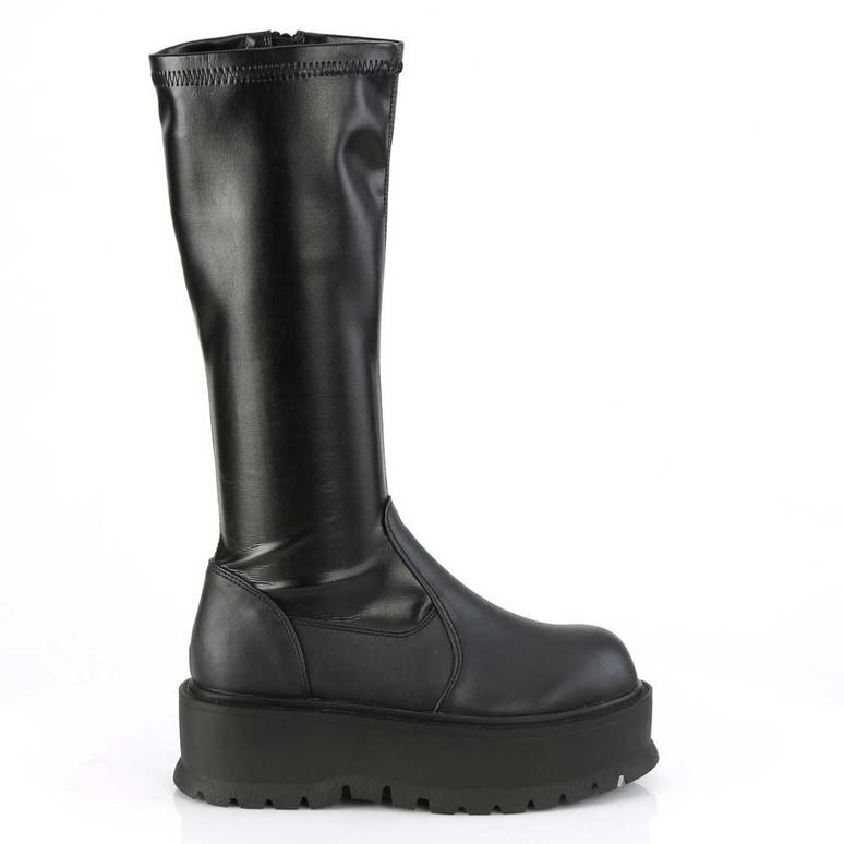 Demonia | Slacker-200, Side View Platform Stretch Knee High Boots