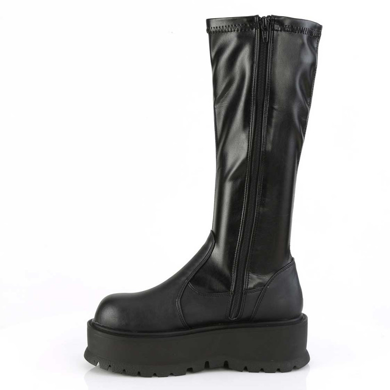 Slacker-200, 2 Inch Platform  Stretch Knee High Boots | Demonia Zipper Side View