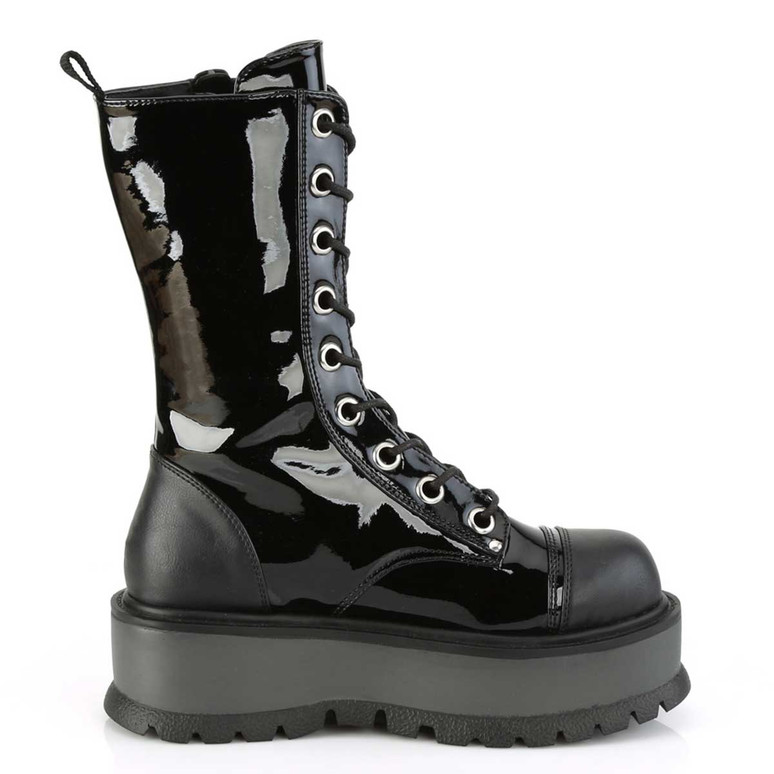 Demonia | Slacker-220, Gothic Platform Lace-up with Mid-Calf Boots Side View