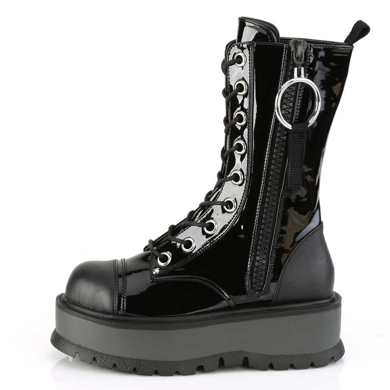 Slacker-220, Side view Platform Lace-up with Mid-Calf Demonia Boots