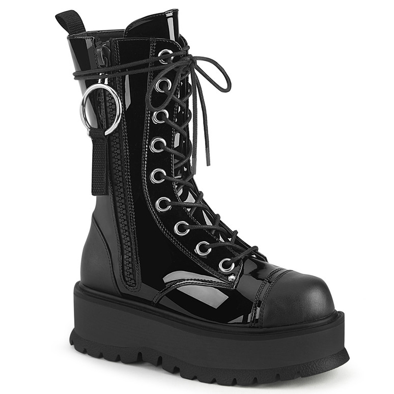 Slacker-220, Gothic Platform Lace-up with Mid-Calf Demonia Boots